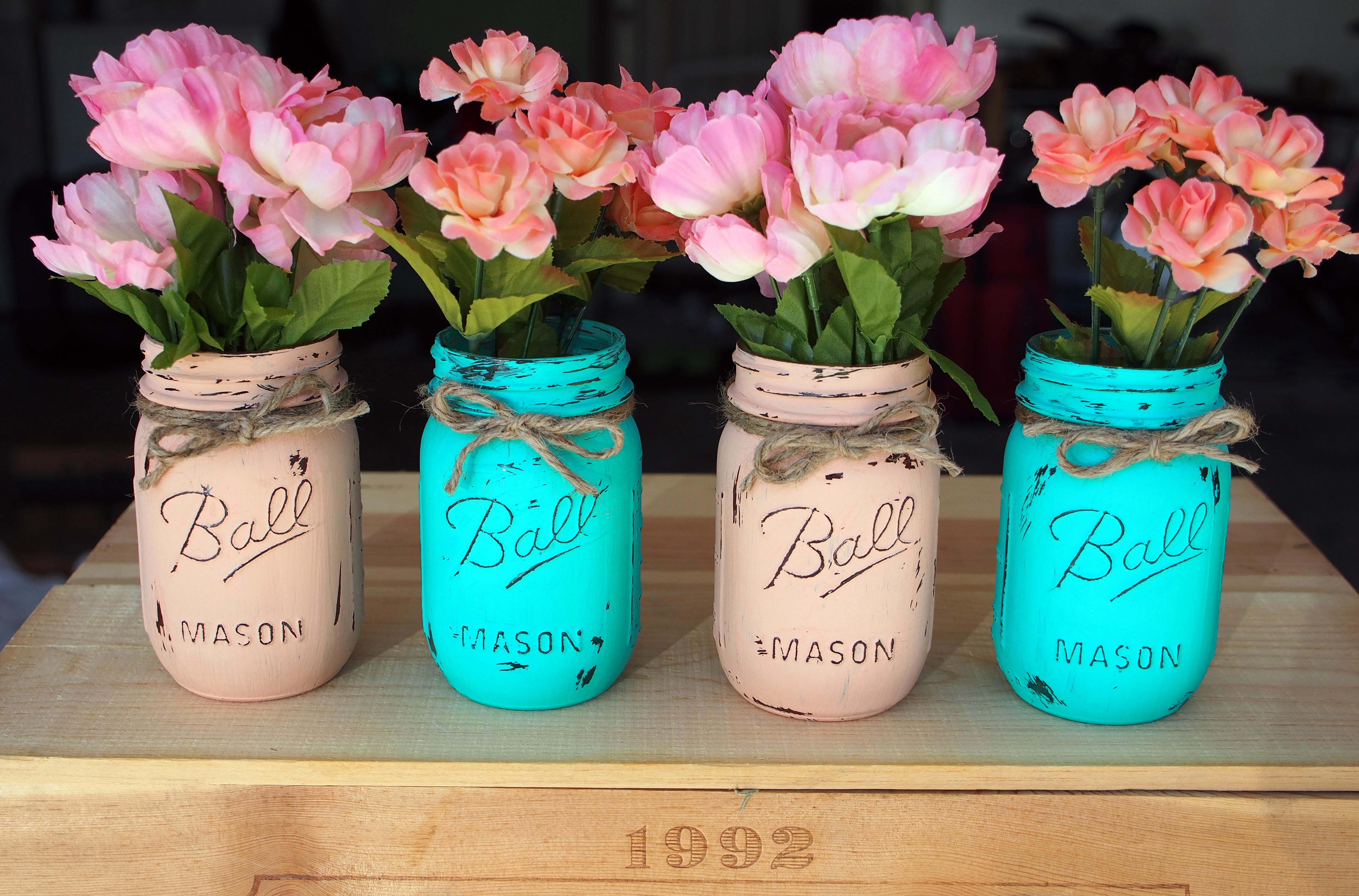 supplies mason jars acrylic paint paint brush sandpaper or nail file. Black Bedroom Furniture Sets. Home Design Ideas